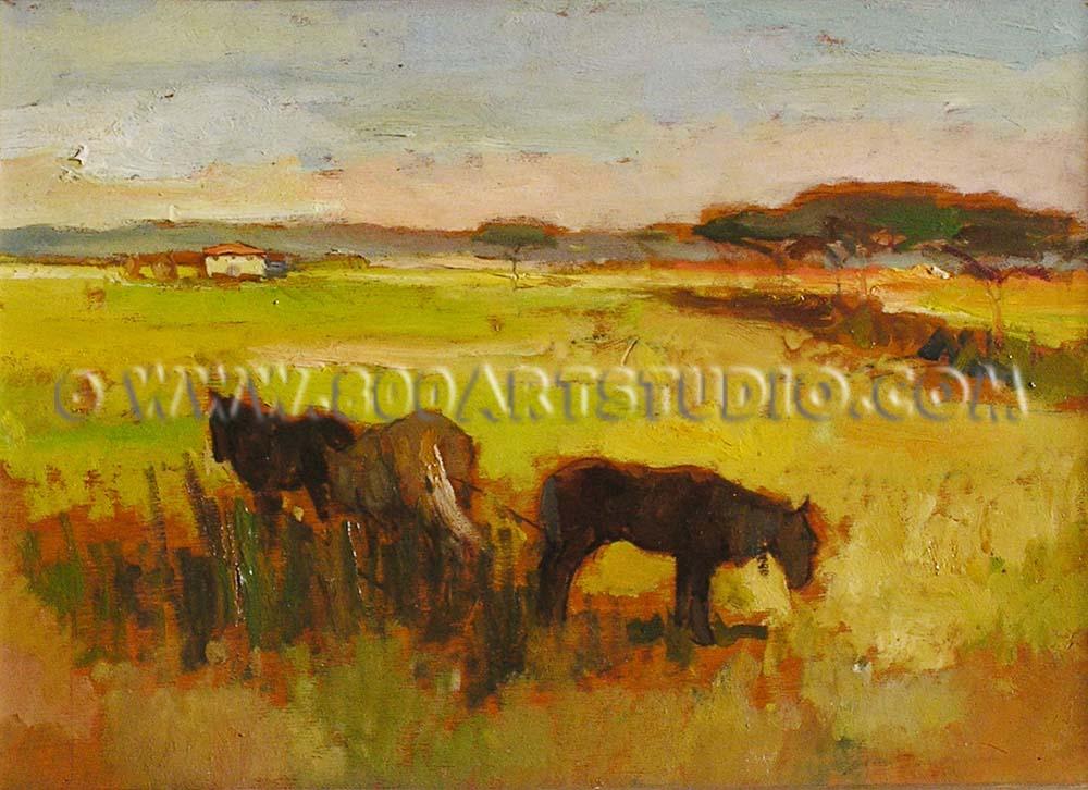 Giovanni Bartolena - Horses at grass