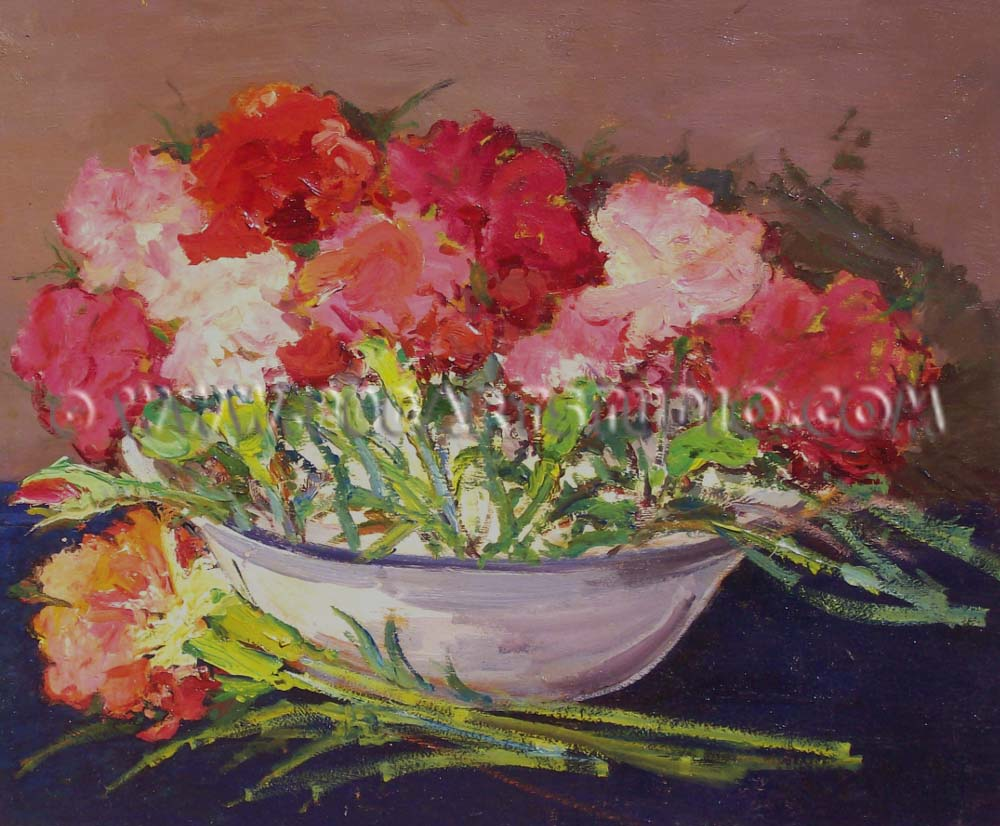 Giovanni Bartolena - Red flowers in a ceramic bowl