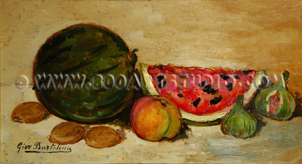 Giovanni Bartolena - Still life with figs and water-melons