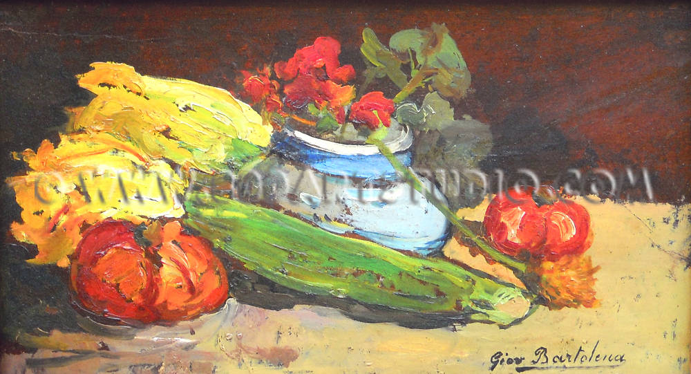 Giovanni Bartolena - Still life with flowers and courgettes