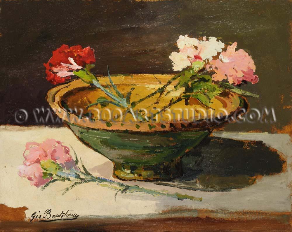 Giovanni Bartolena - Still life with carnations