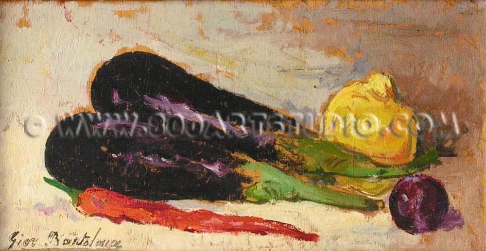Giovanni Bartolena - Still life with aubergines