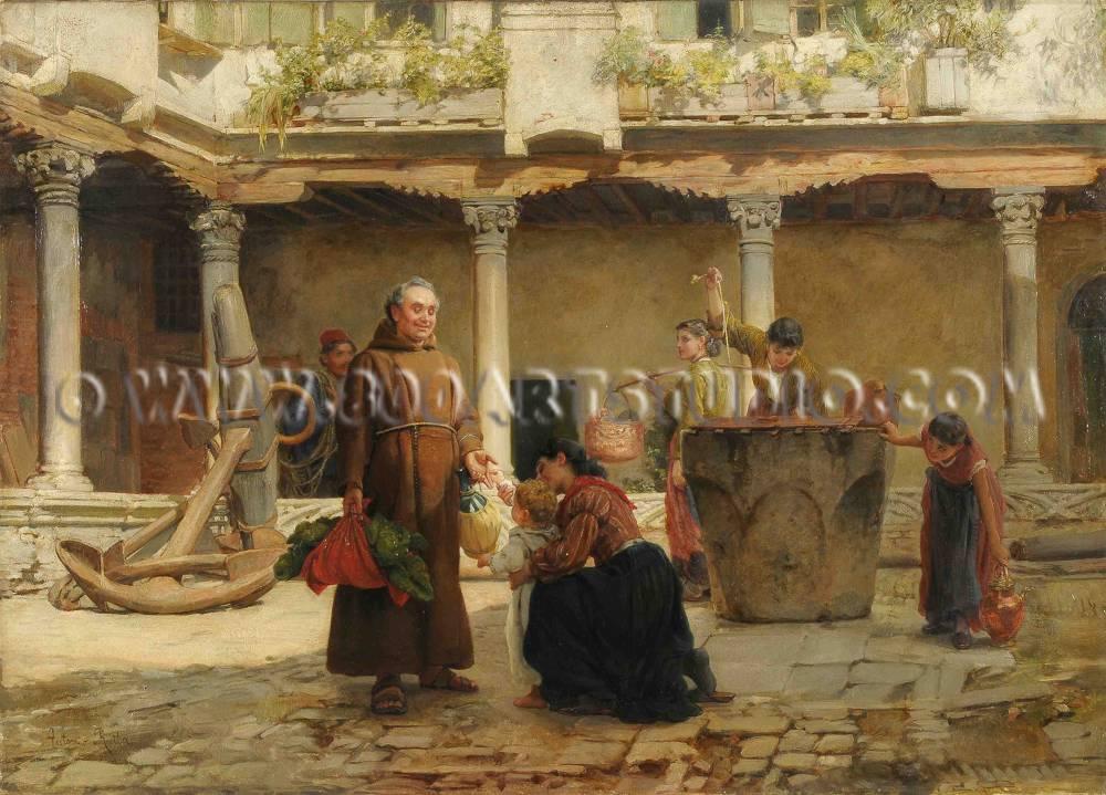 Antonio Rotta - Nel chiostro dell'Abbazia di San Gregorio