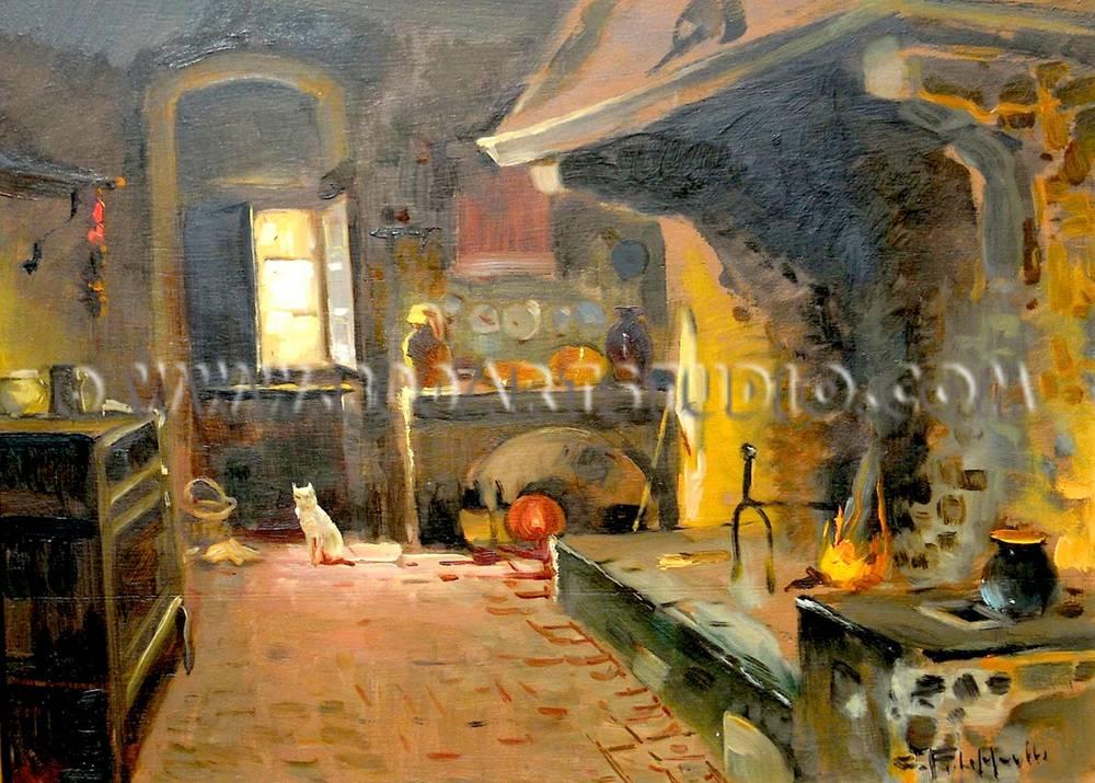 Cafiero-Filippelli-Interno-di-cucina-colonica-olio-su-compensato-cm-30x40-copy