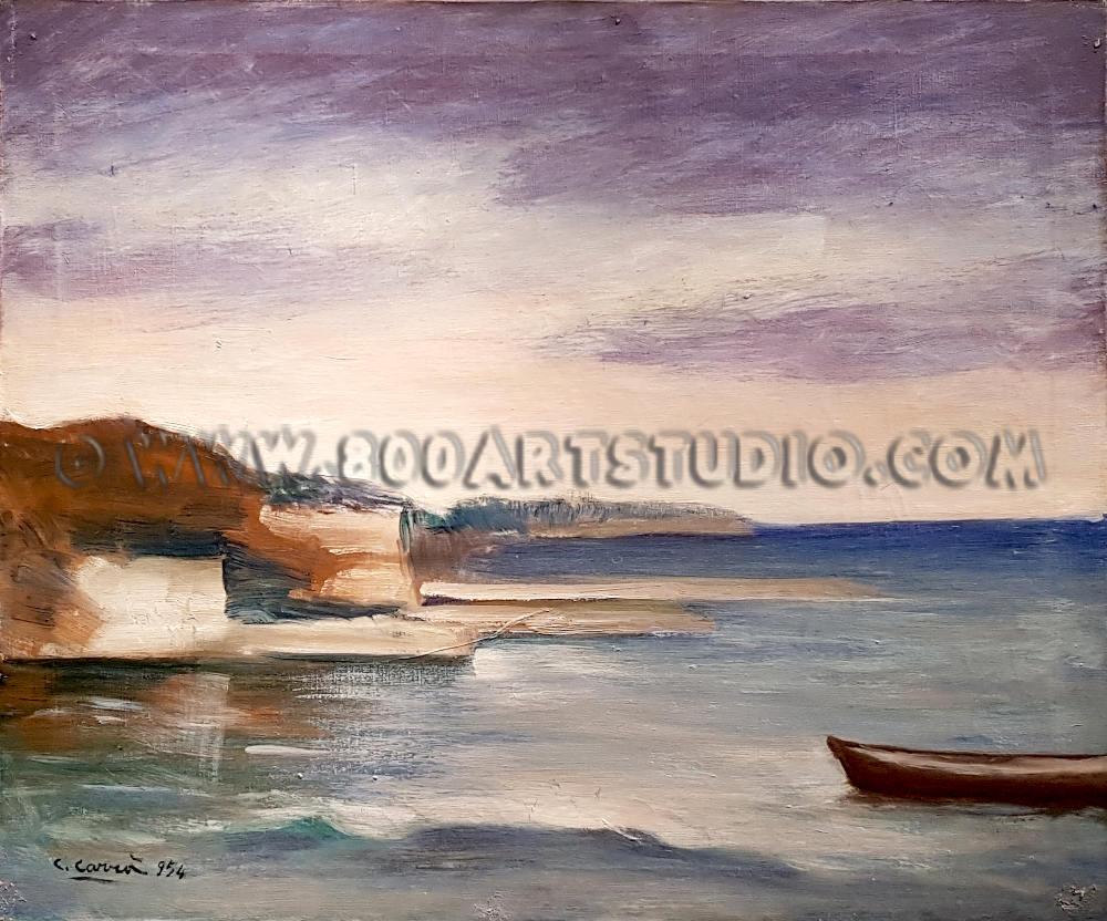 Carlo Carrà - Marina - olio su tela - datato in basso 1954