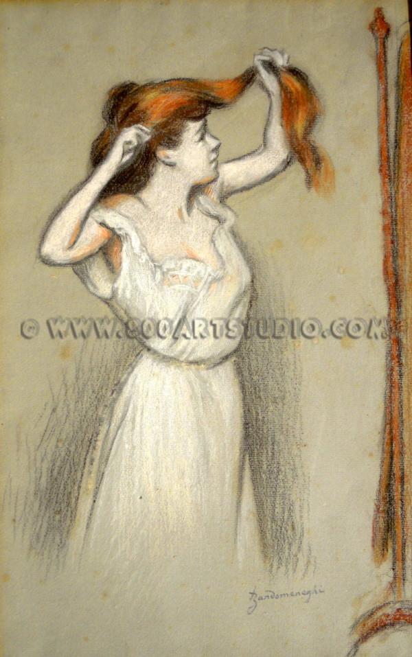 Federico Zandomeneghi - Allo Specchio (Femme qui se coiffe)
