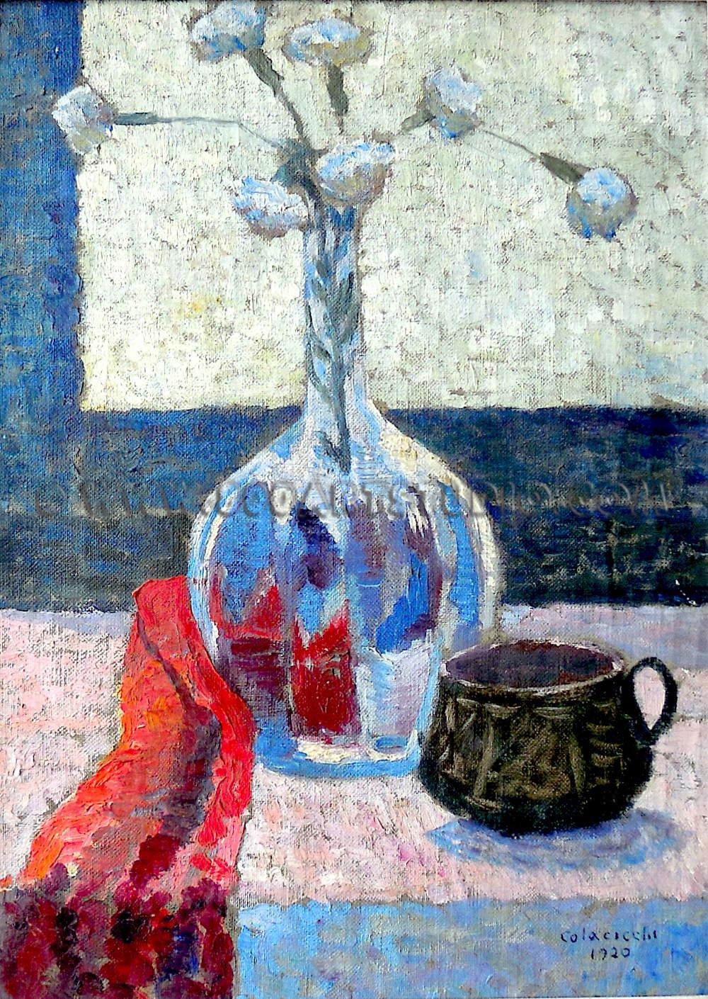 Giovanni Colacicchi - Natura morta con panno rosso