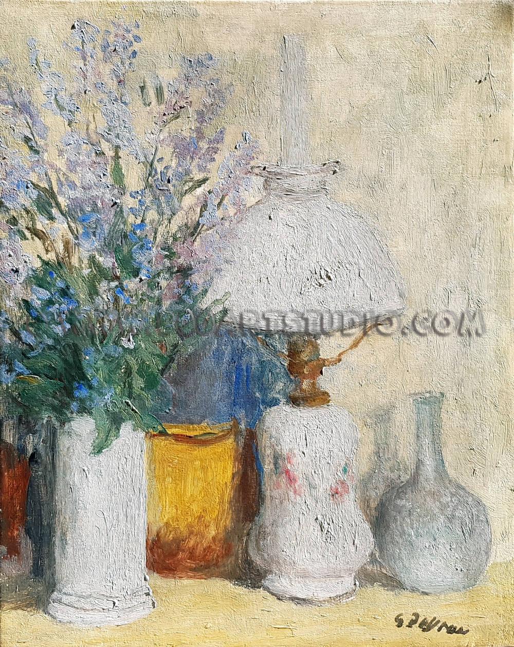 Guido Peyron - Composizione con fiori e lume