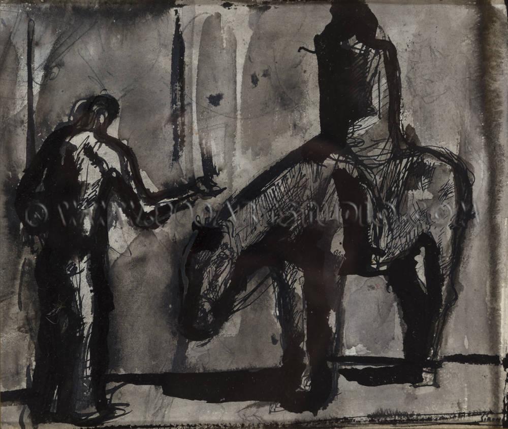 Mario Sironi - Composizione con cavallo, cavaliere e figura