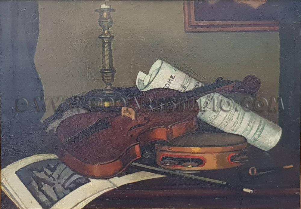 Piero Marussig - Strumenti musicali I. (Natura morta con violino)