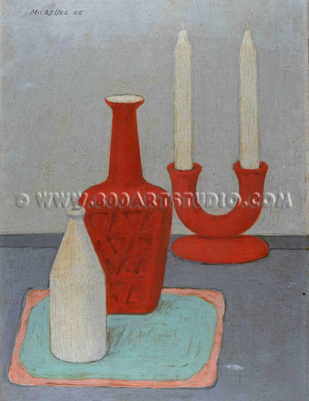 Ruggero Michaelles - RAM - Natura morta con bottiglia rossa