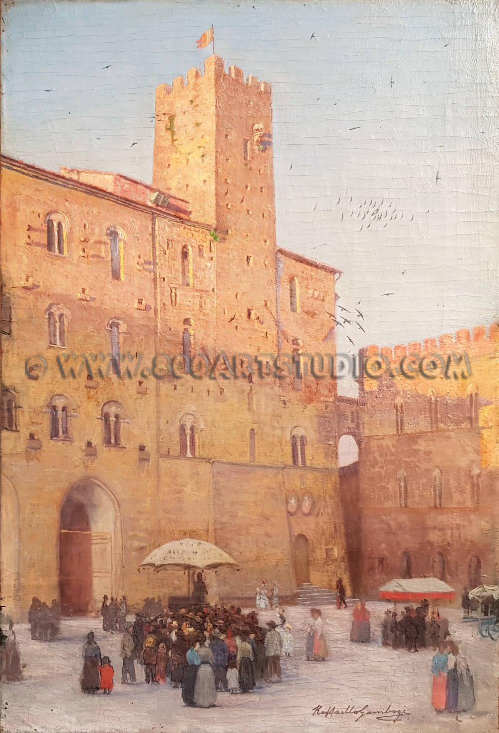 Raffaello Gambogi - Piazza dei Priori a Volterra