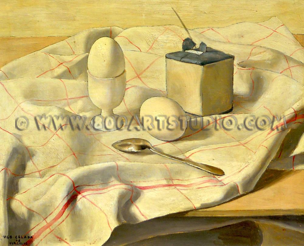 Ugo Celada da Virgilio - Natura morta con uova