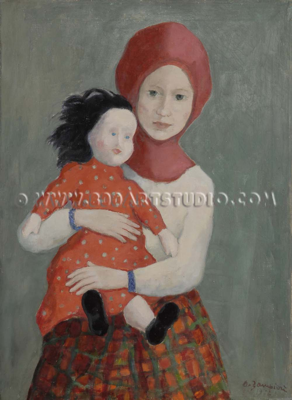 Alberto Zampieri - Bambina con passamontagna e bambola