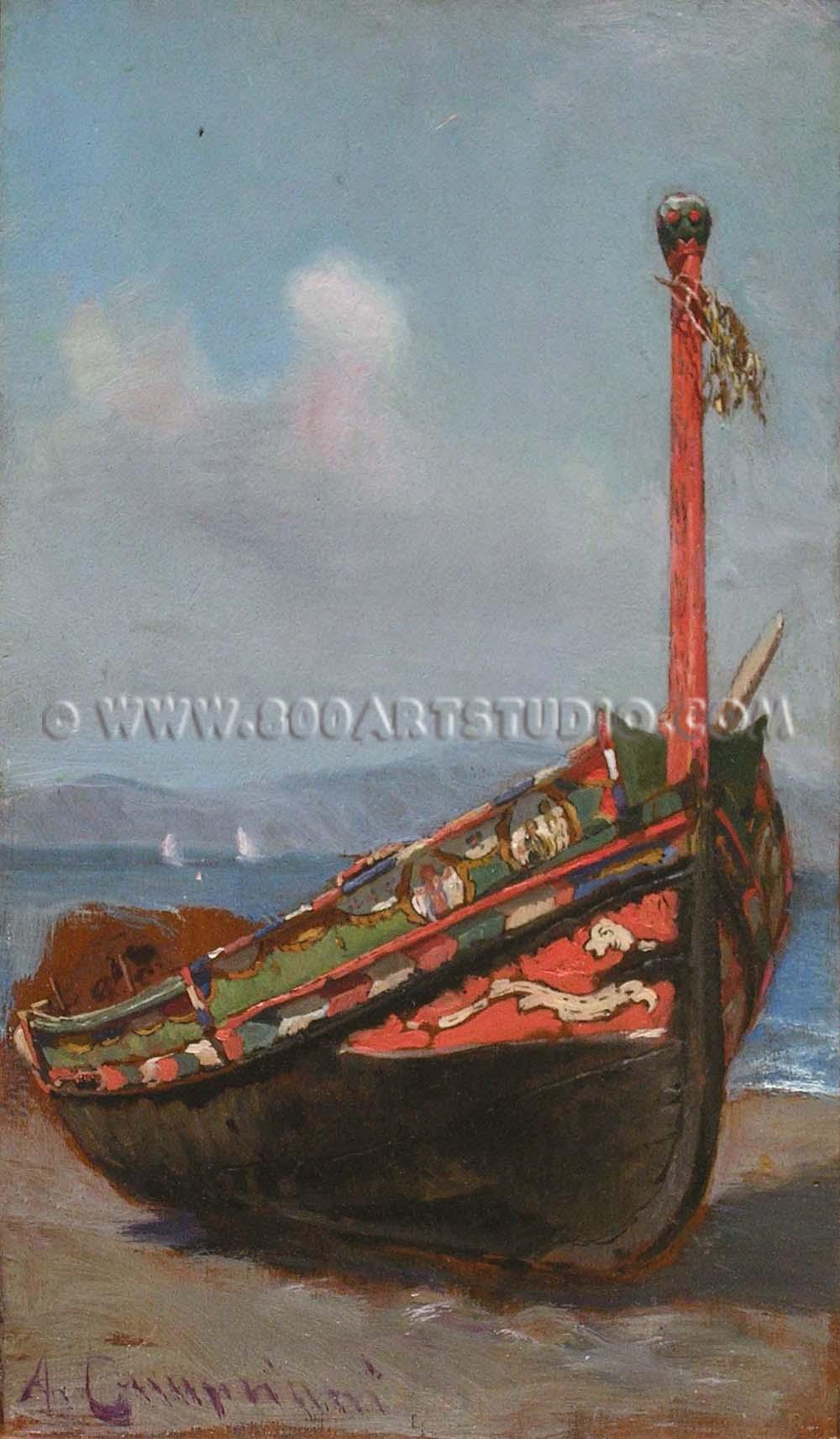 Alceste Campriani - Barca sulla spiaggia