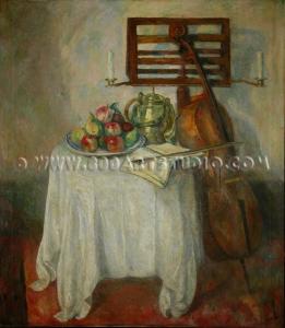 Alfredo Müller - Natura morta con violoncello