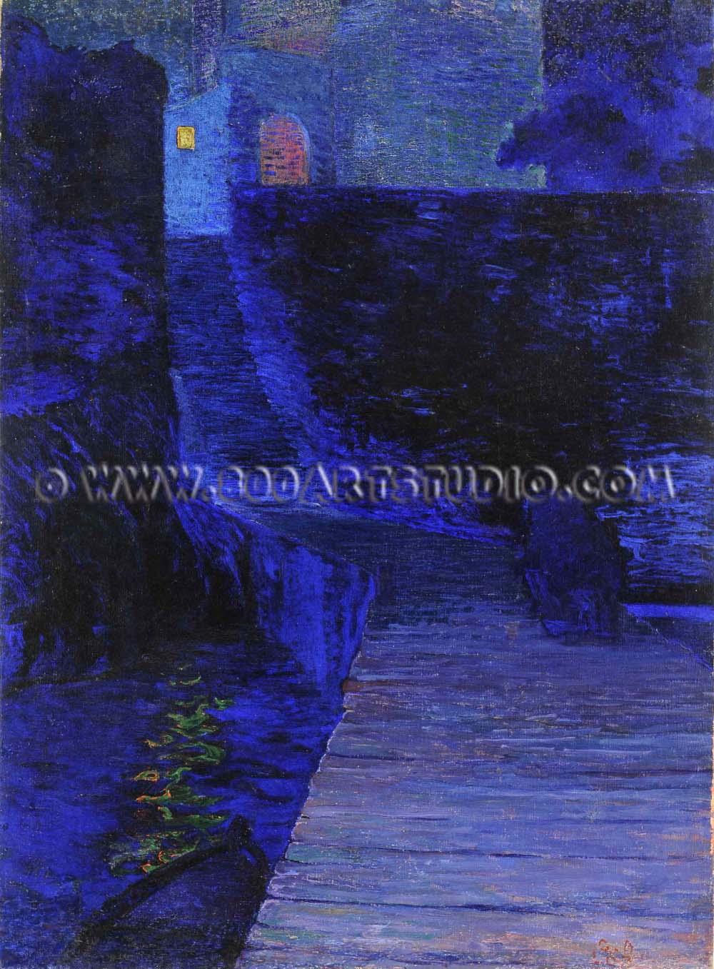 Amedeo Guglielmo Lori - Notturno sul molo