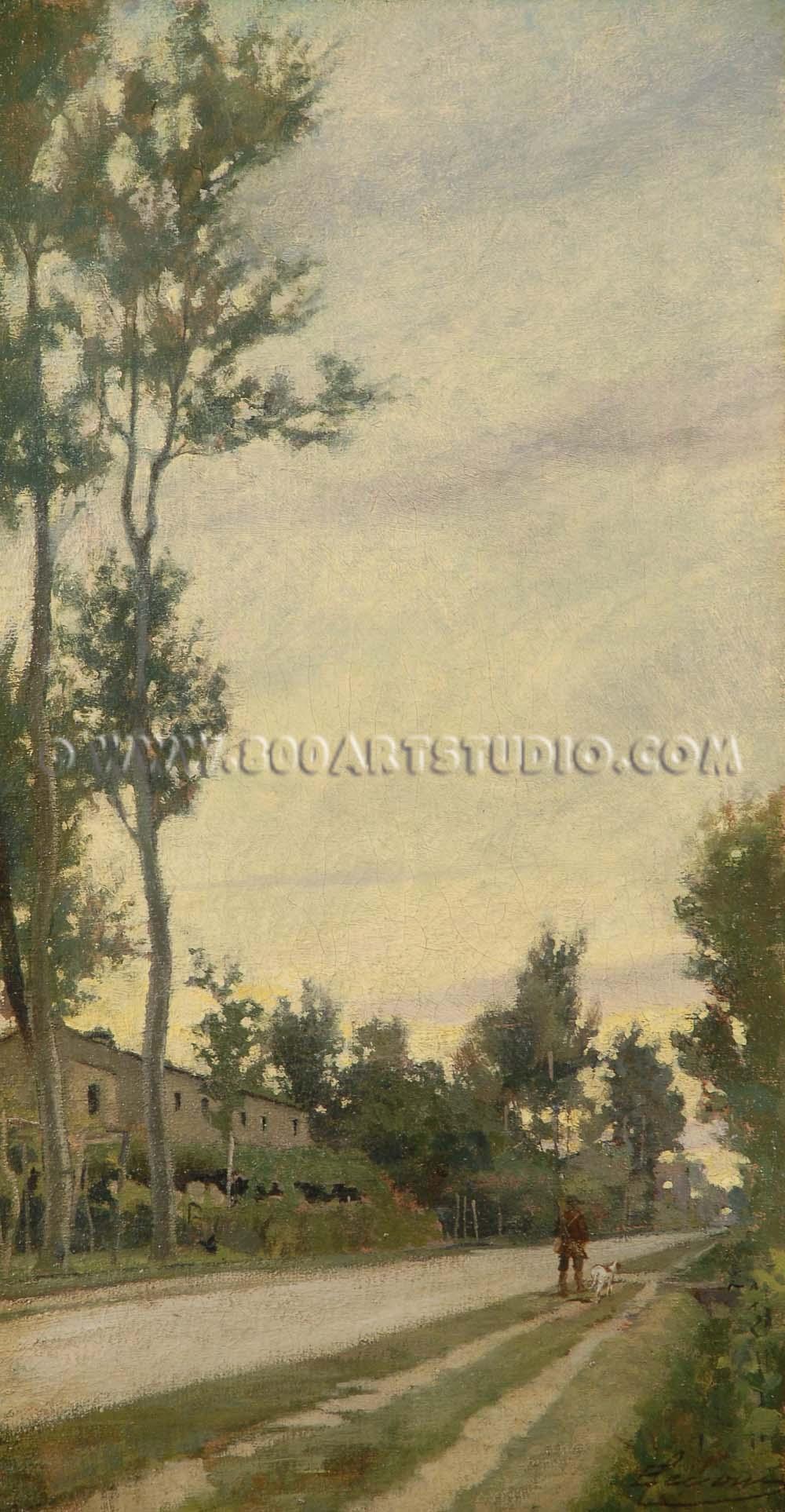 Eugenio Cecconi - Paesaggio con cacciatore