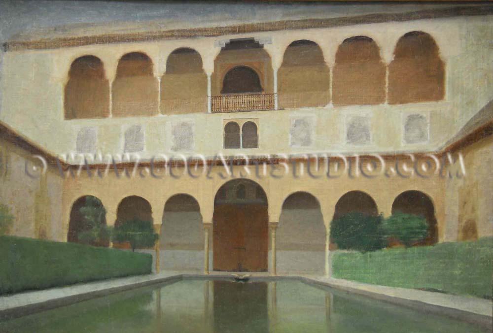 Filadelfo Simi - Alhambra, balcone e loggia sulla piscina