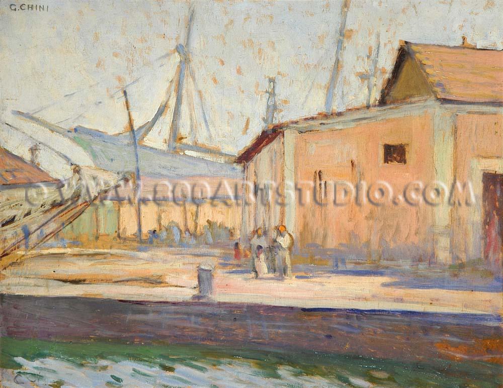 Galileo Chini - Nel canale di Viareggio
