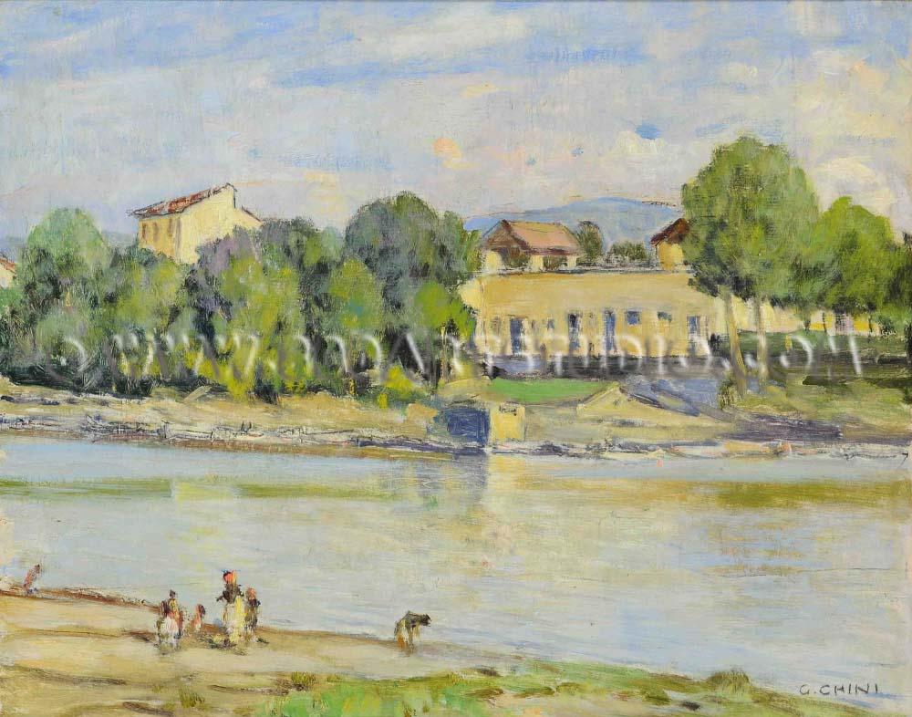 Galileo Chini - Riva d'Arno
