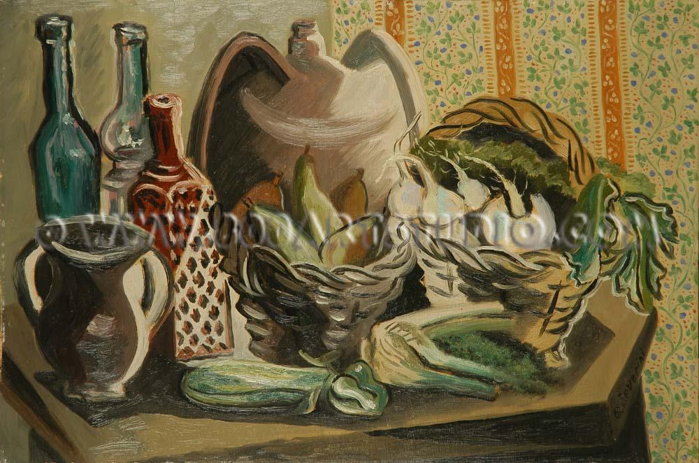 Gino Severini - Natura morta con bottiglie e cestino di pere