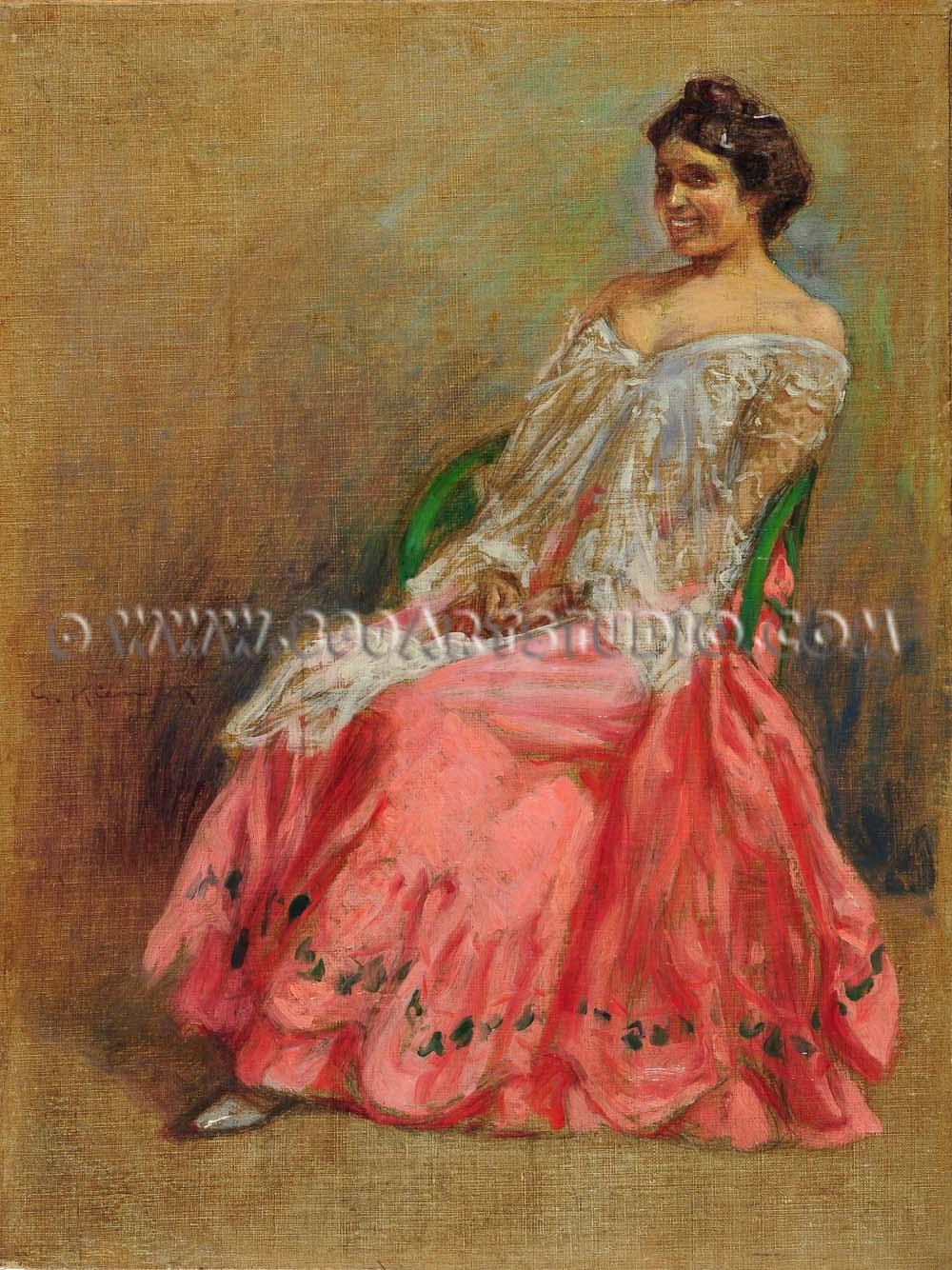 Giorgio Kienerk - Modella in rosa