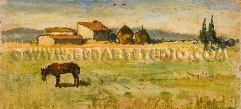 Giovanni Bartolena - Case coloniche con pagliai