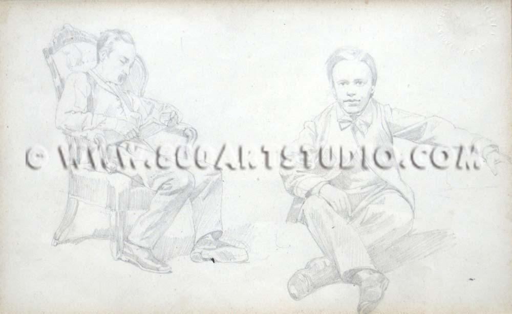 Giovanni Fattori - Il fratello Rinaldo e il nipote Alberto
