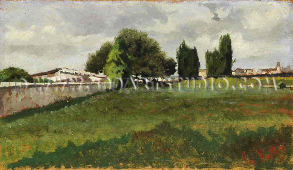 Giovanni Fattori - Prateria (veduta con alberi e case)