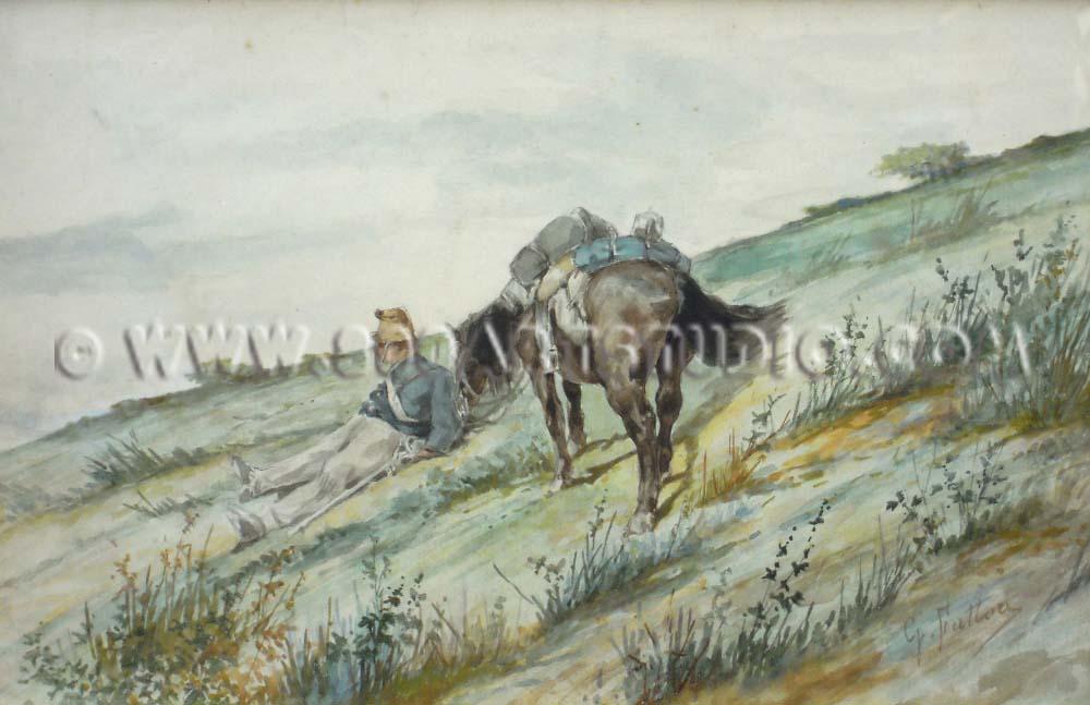 Giovanni Fattori - Soldato a riposo con cavallo