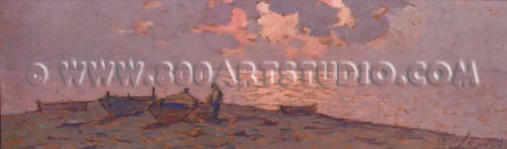 Giovanni Lomi - Barche in riva al mare