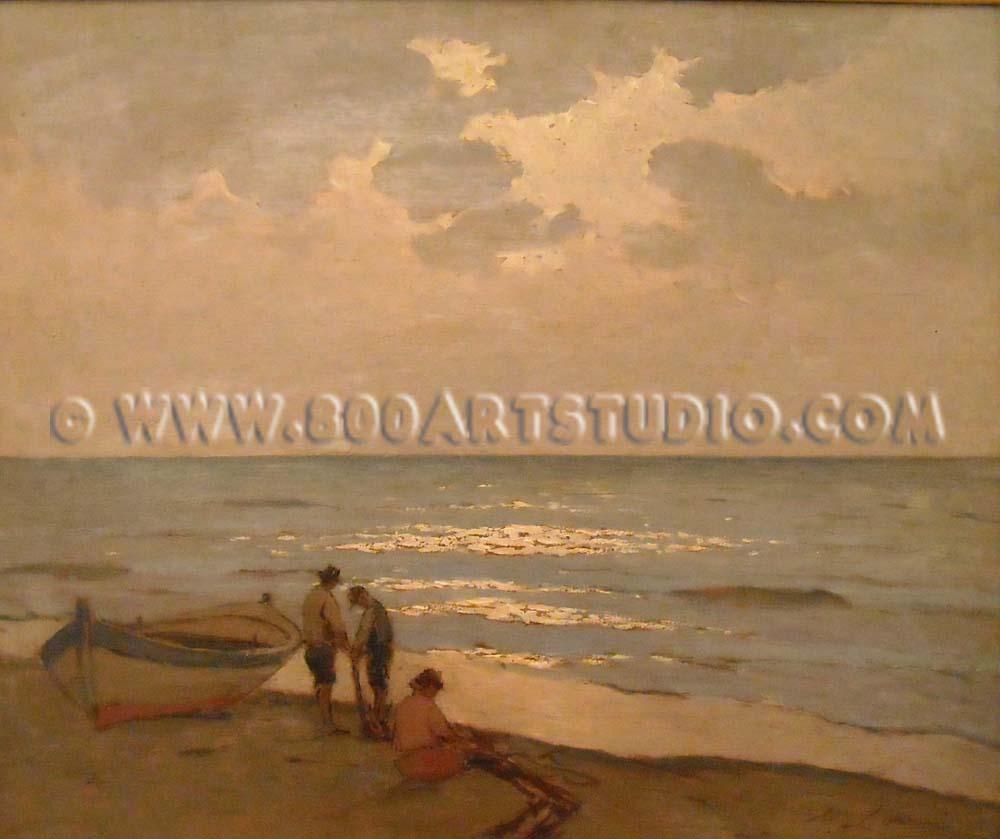 Giovanni Lomi - Pescatori sulla riva