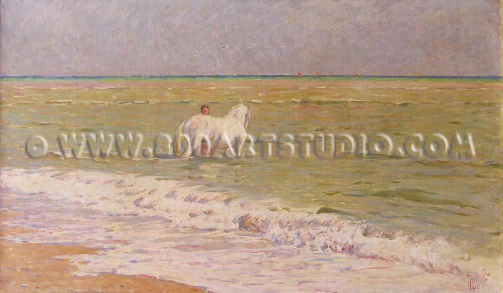 Luigi Gioli - Cavallo al bagno