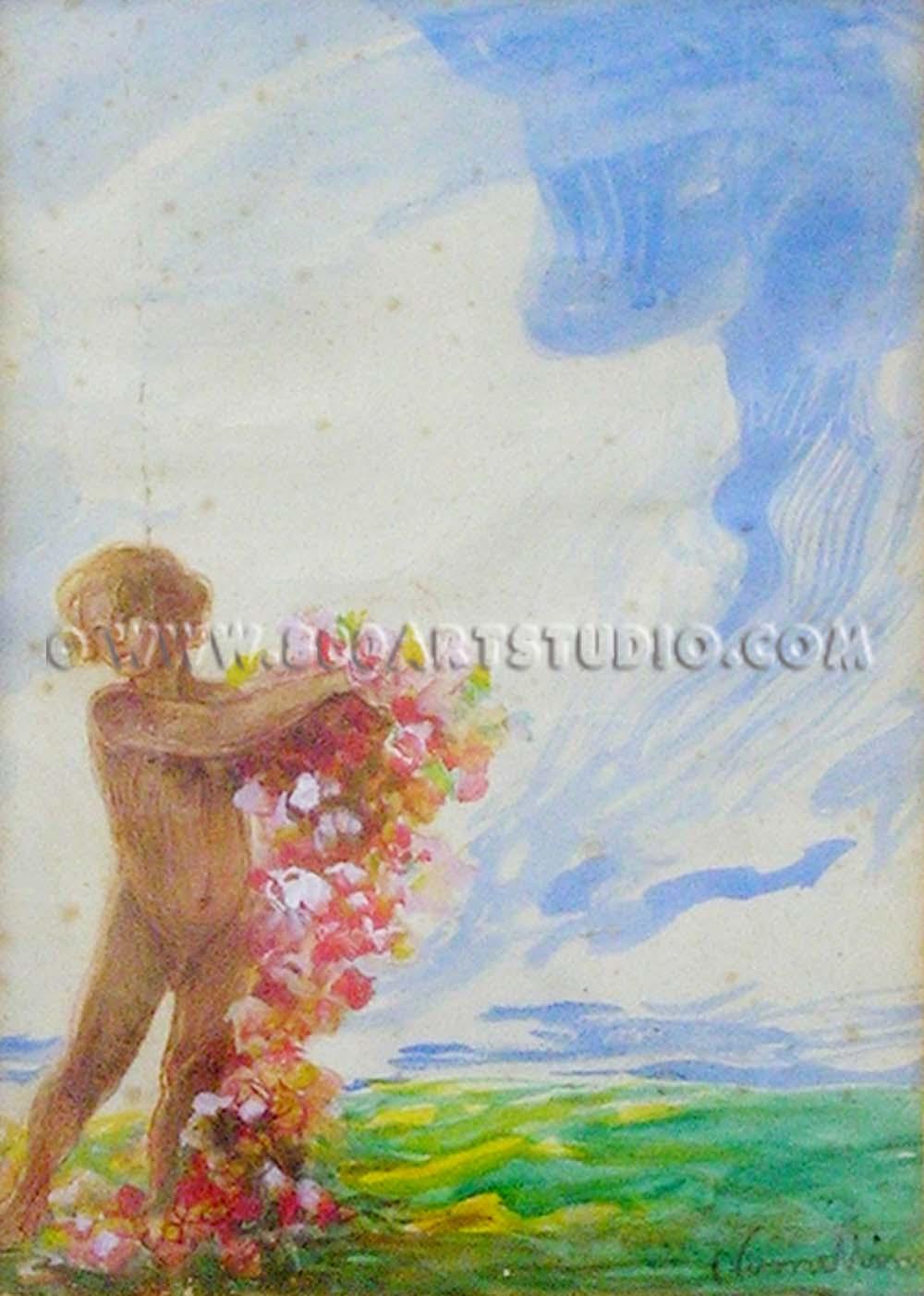 Plinio Nomellini - Fanciullo con fiori