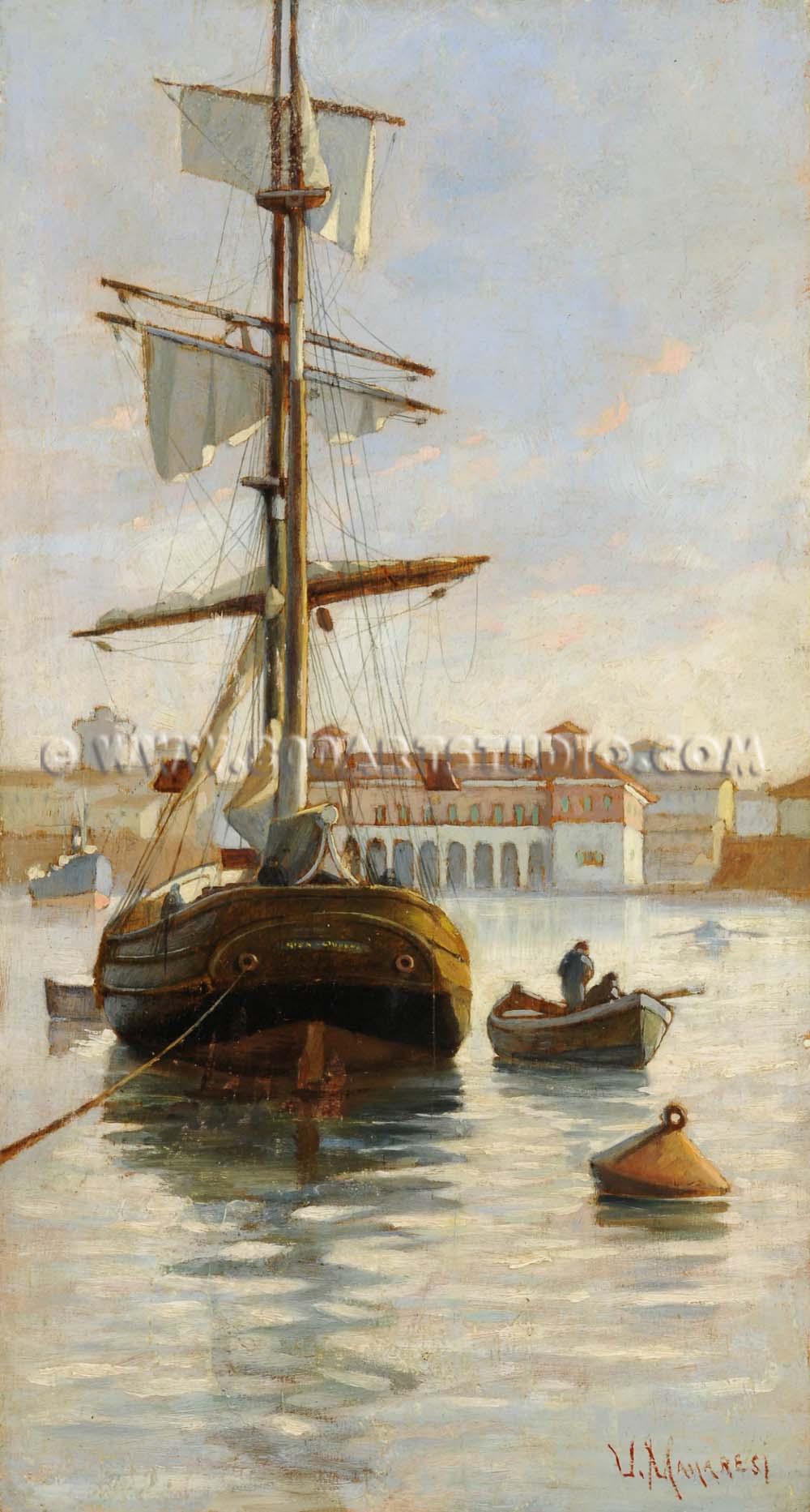 Ugo Manaresi - Veliero nel porto mediceo