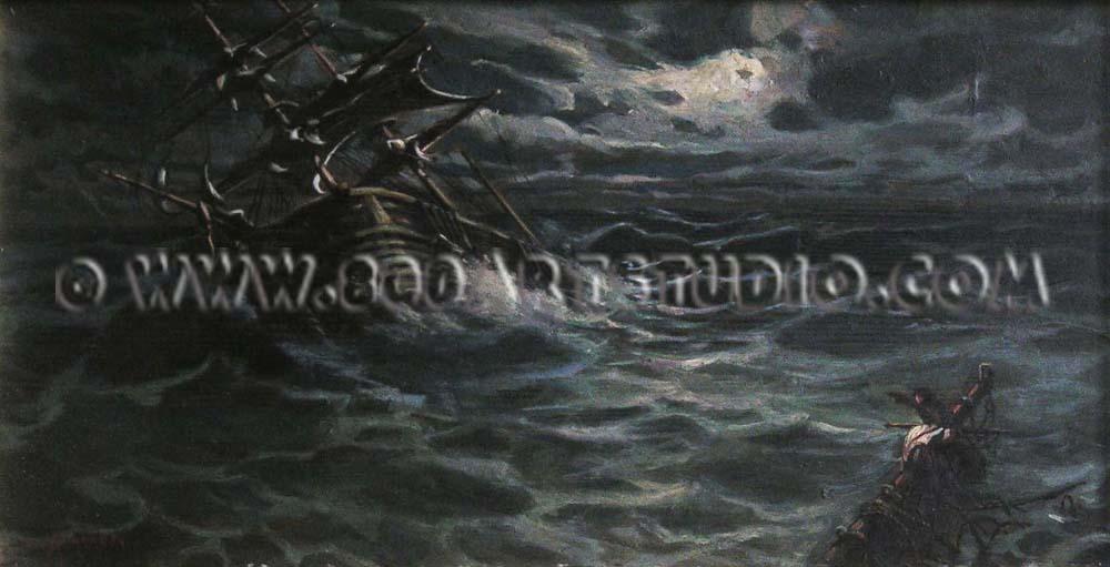 Ugo Manaresi - Veliero nella tempesta