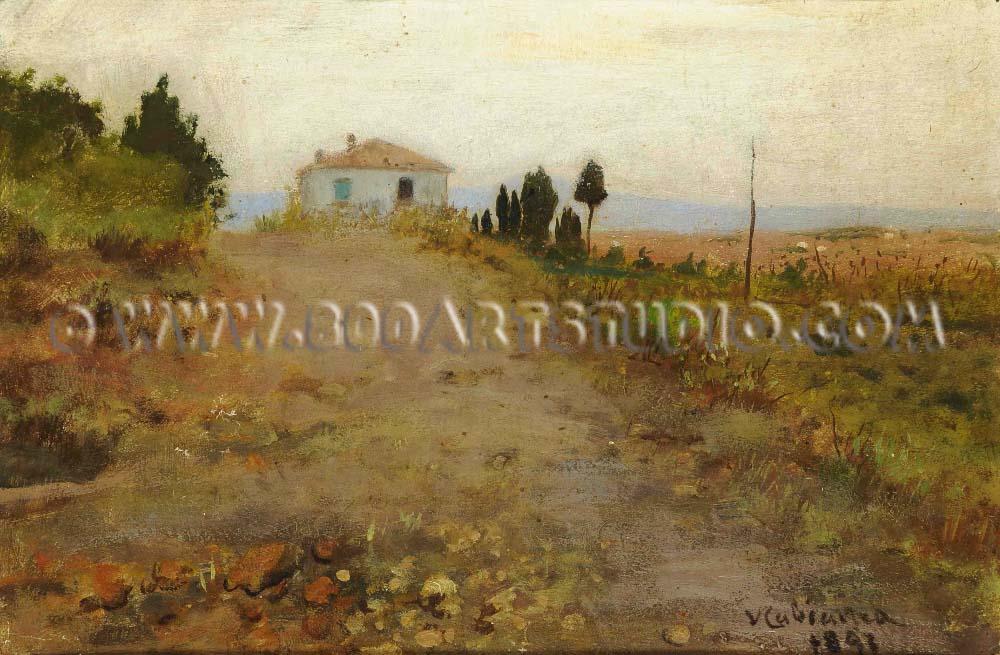 Vincenzo Cabianca - Tramonto toscano